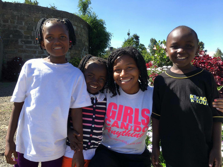 Sophia Andrews with kids in Kenya